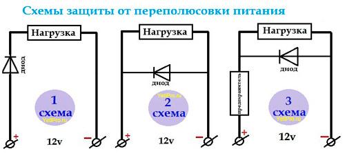 Схему устройства защиты от переполюсовки